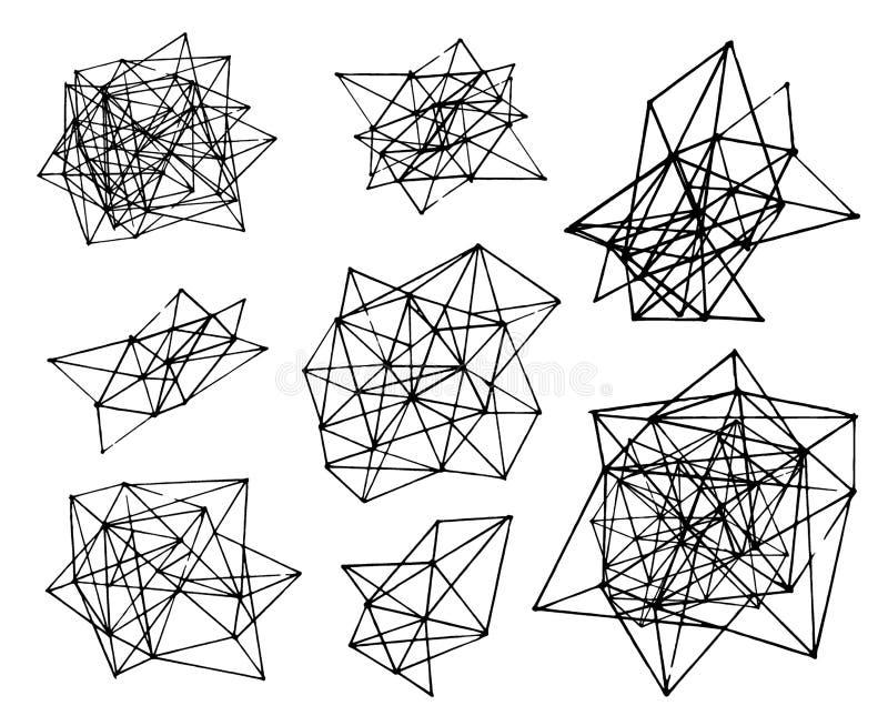 Schizzo disegnato a mano di vettore dell'illustrazione geometrica poligonale di forma dell'estratto su fondo bianco illustrazione vettoriale