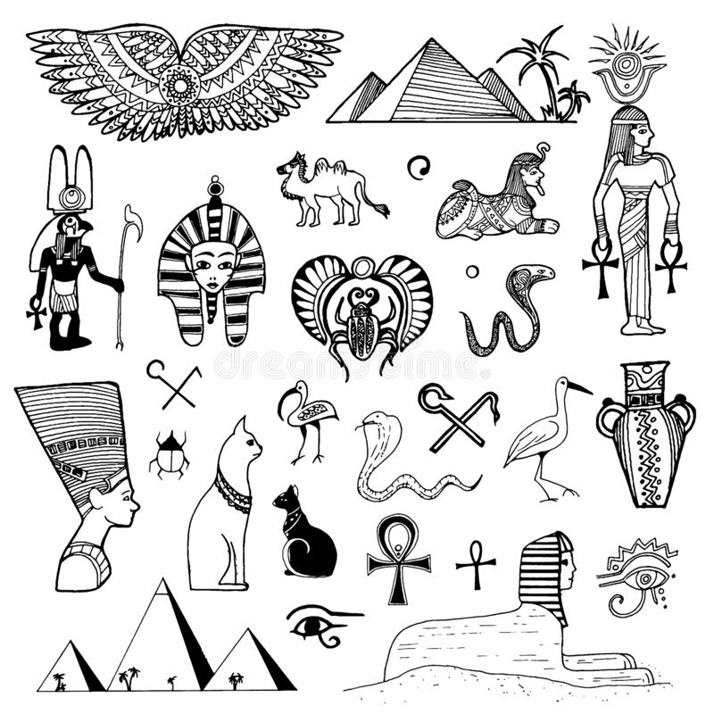 Schizzo disegnato a mano di vettore dell'illustrazione di simboli dell'Egitto su fondo bianco illustrazione vettoriale