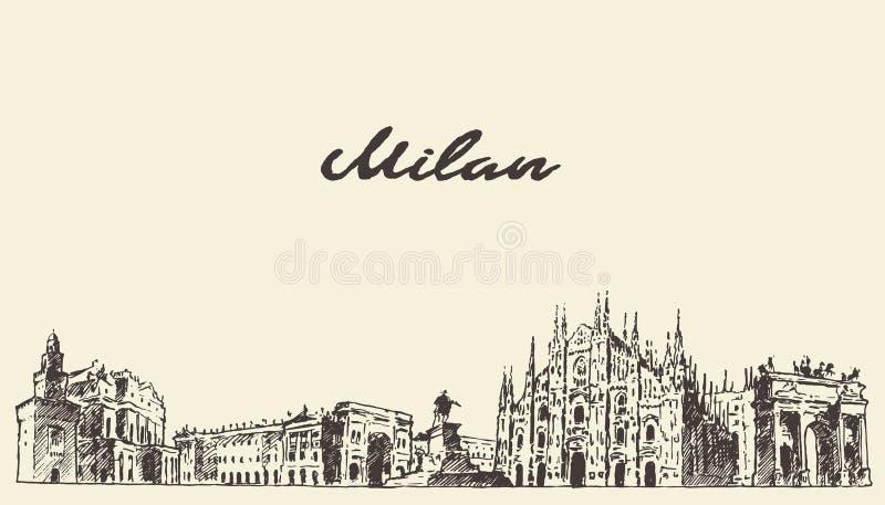 Schizzo disegnato a mano di vettore dell'Italia dell'orizzonte di Milano illustrazione vettoriale