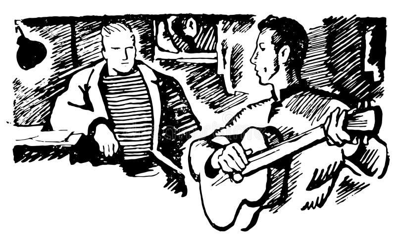 Schizzo disegnato a mano di vettore dell'uomo con l'illustrazione della chitarra su fondo bianco illustrazione vettoriale