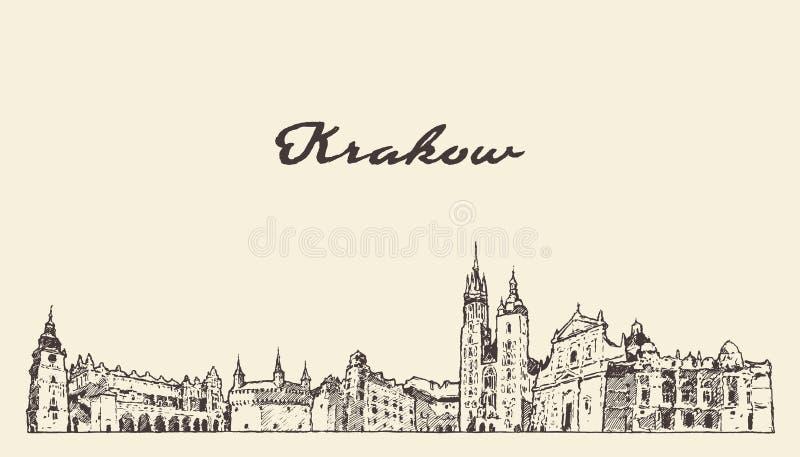 Schizzo disegnato a mano di vettore della Polonia dell'orizzonte di Cracovia illustrazione vettoriale
