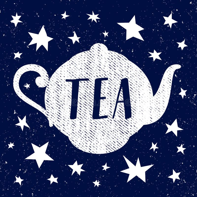Schizzo disegnato a mano di vettore della tazza di tè con la stella royalty illustrazione gratis