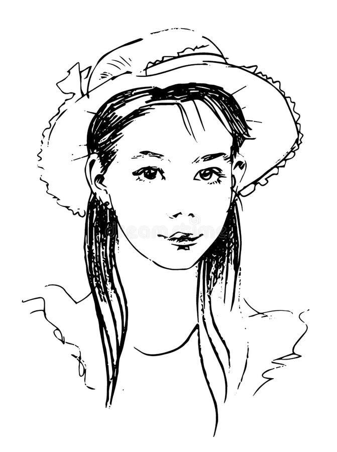 Schizzo disegnato a mano di vettore di signora nell'illustrazione del cappello su fondo bianco royalty illustrazione gratis