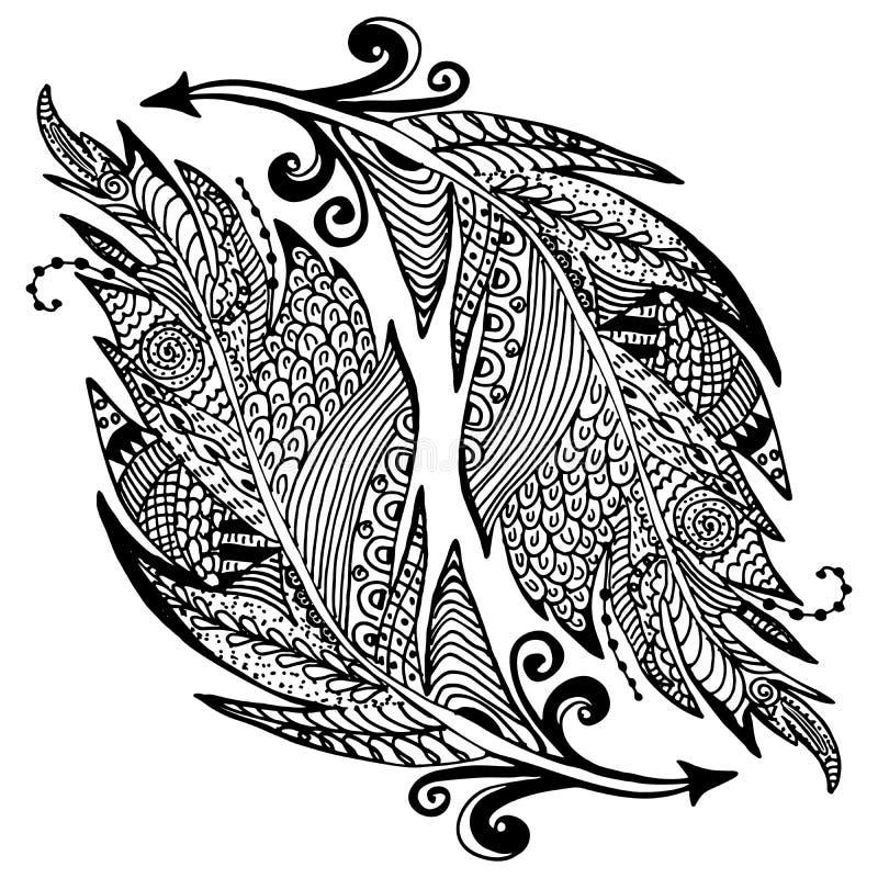 Schizzo disegnato a mano ornamentale delle piume nello stile dello zentangle illustrazione di vettore con l'ornamento, isolato illustrazione di stock