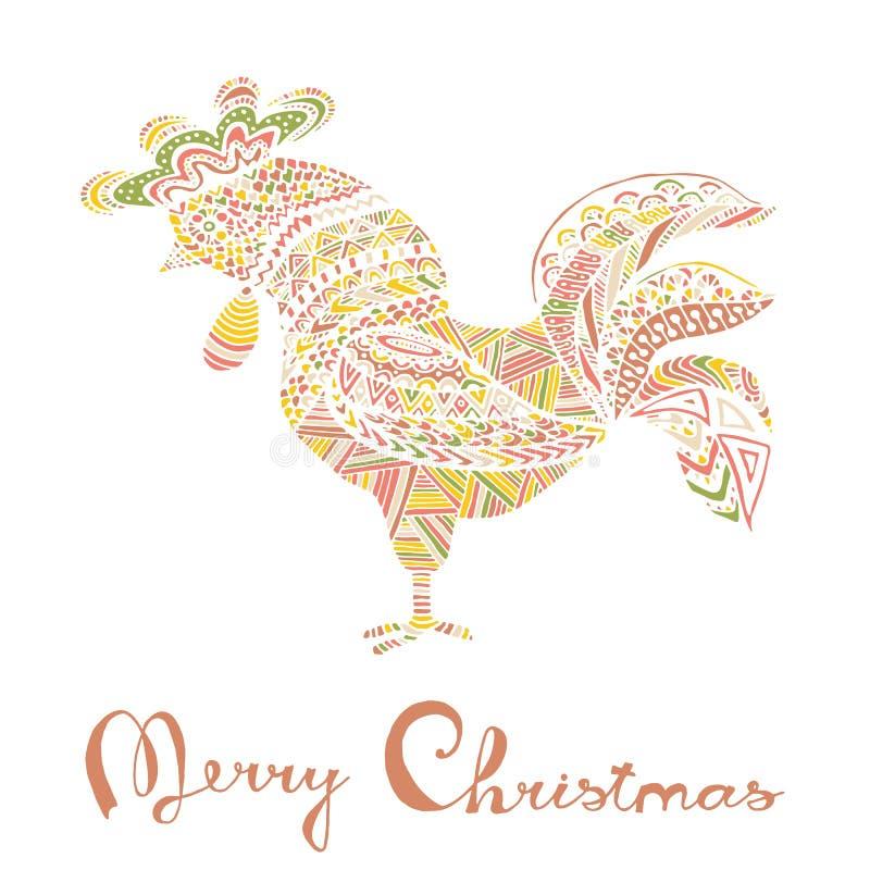 Schizzo disegnato a mano sotto forma di un gallo illustrazione di stock