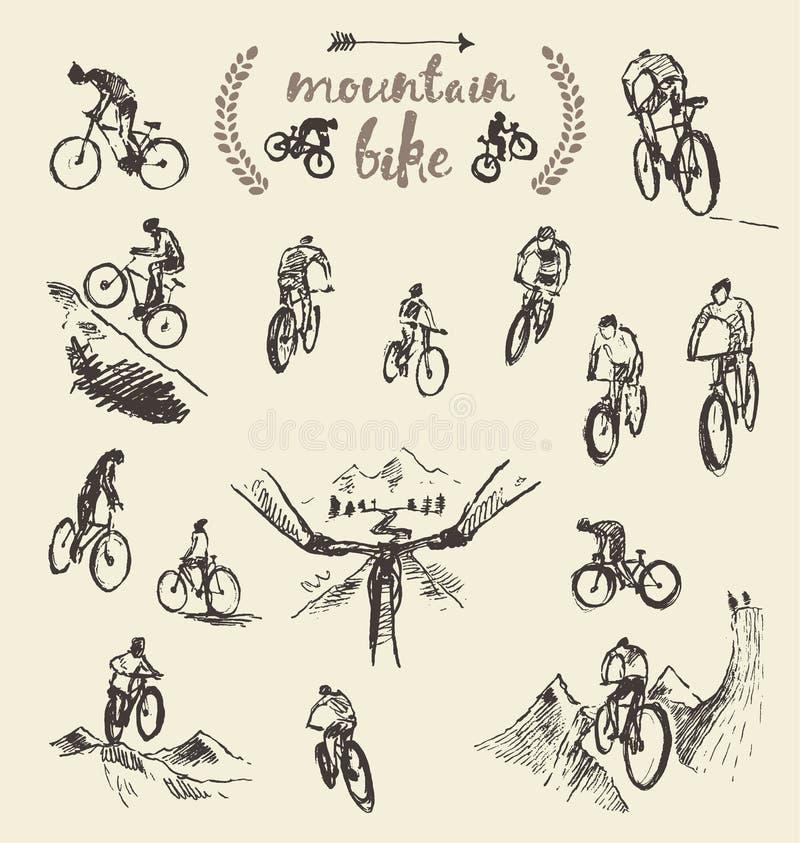 Schizzo disegnato a mano stabilito di vettore del ciclista del mountain bike illustrazione vettoriale