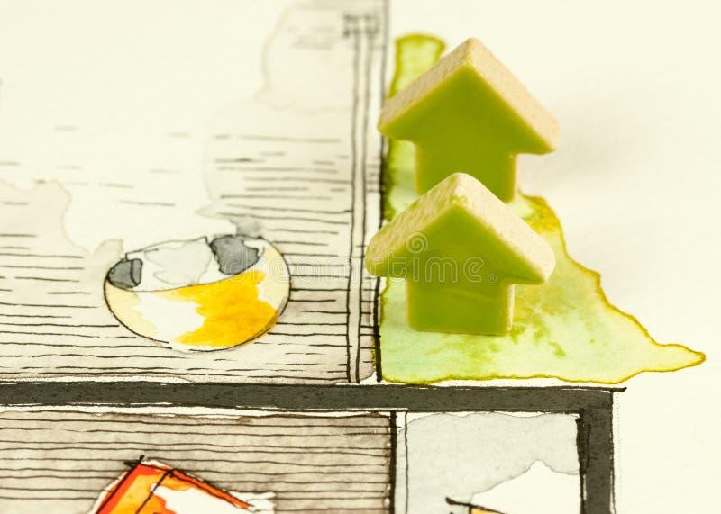 Schizzo disegnato verde ceramico della veranda delle frecce a disposizione royalty illustrazione gratis
