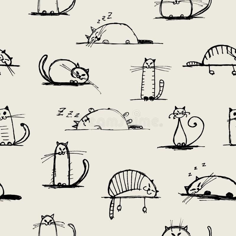 Schizzo divertente dei gatti, reticolo senza cuciture per il vostro illustrazione di stock
