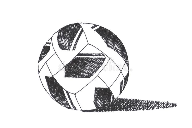 Schizzo e progettazione del pallone da calcio di calcio Drawi nero della mano della penna fotografia stock libera da diritti
