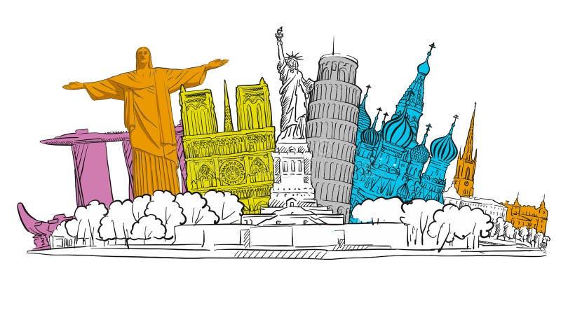 Schizzo famoso dell'insegna di viaggio royalty illustrazione gratis