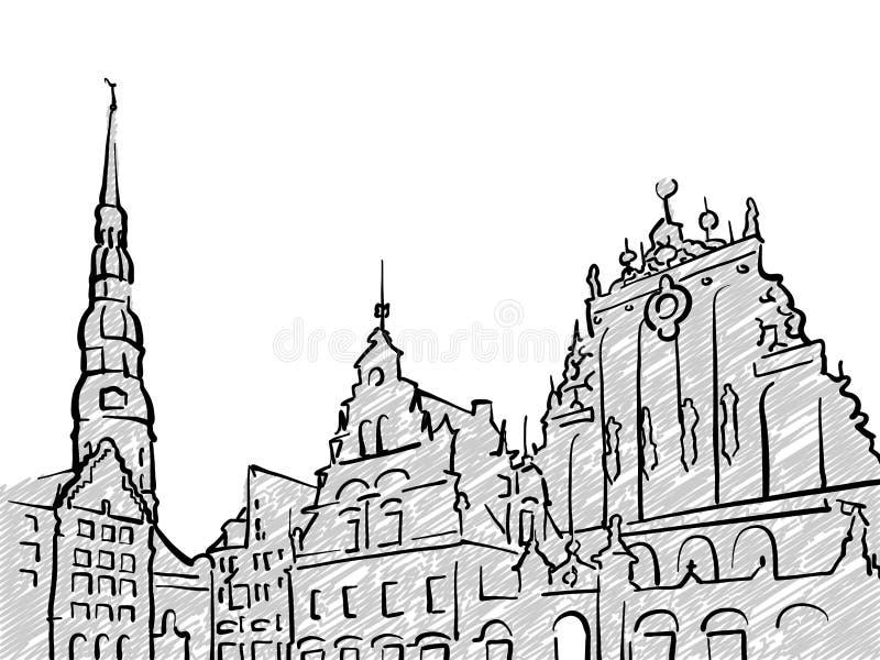 Schizzo famoso di viaggio di Riga, Lettonia illustrazione di stock
