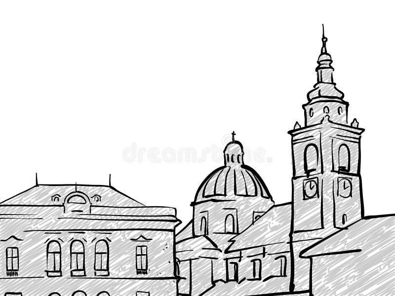Schizzo famoso di viaggio di Transferrina, Slovenia royalty illustrazione gratis