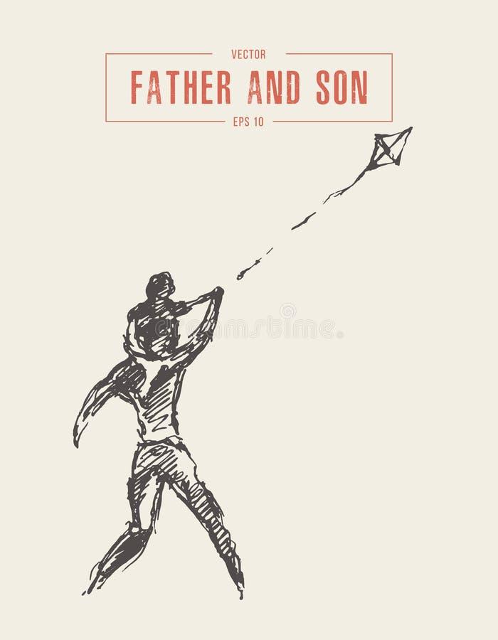 Schizzo felice di vettore della famiglia dell'aquilone della mosca del figlio del padre illustrazione vettoriale