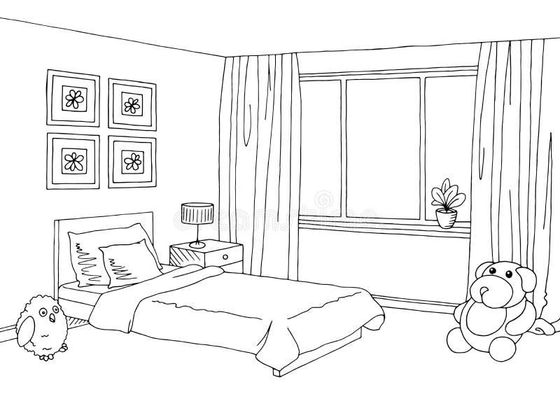 Schizzo interno bianco nero grafico della stanza di bambini illustrazione di stock