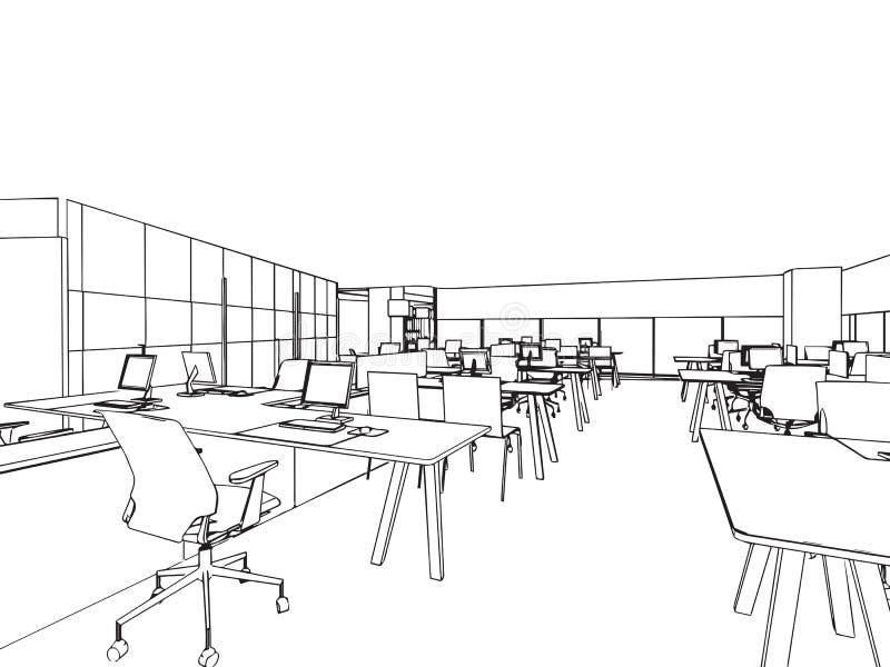 Schizzo interno del disegno di profilo dell 39 ufficio for Disegni della stanza del fango