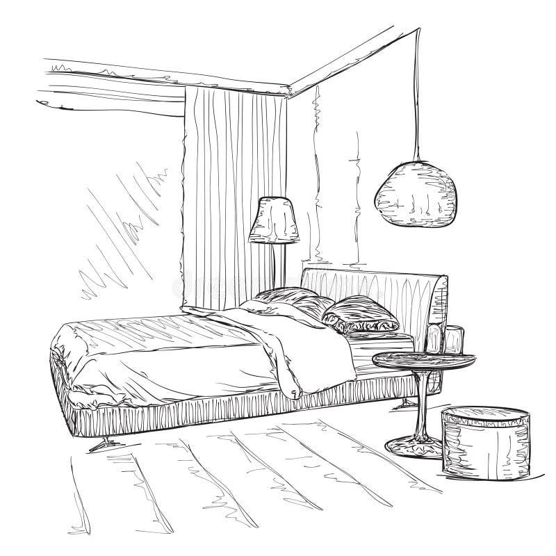 Schizzo interno moderno del disegno di vettore della for Disegno casa interno