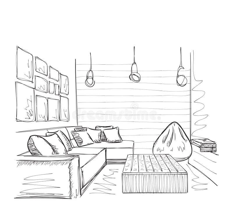 Schizzo interno moderno della stanza Mobilia disegnata a mano royalty illustrazione gratis