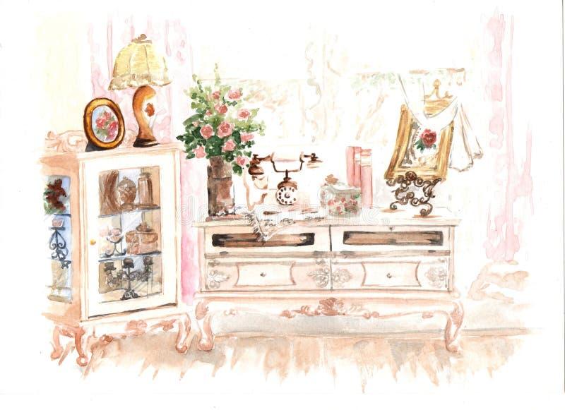 Schizzo interno nel retro stile nei colori rosa fotografia stock libera da diritti