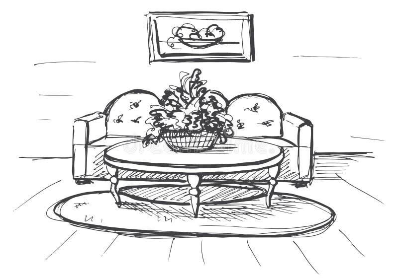 Schizzo lineare di un interno Piano della stanza Illustrazione di vettore illustrazione di stock