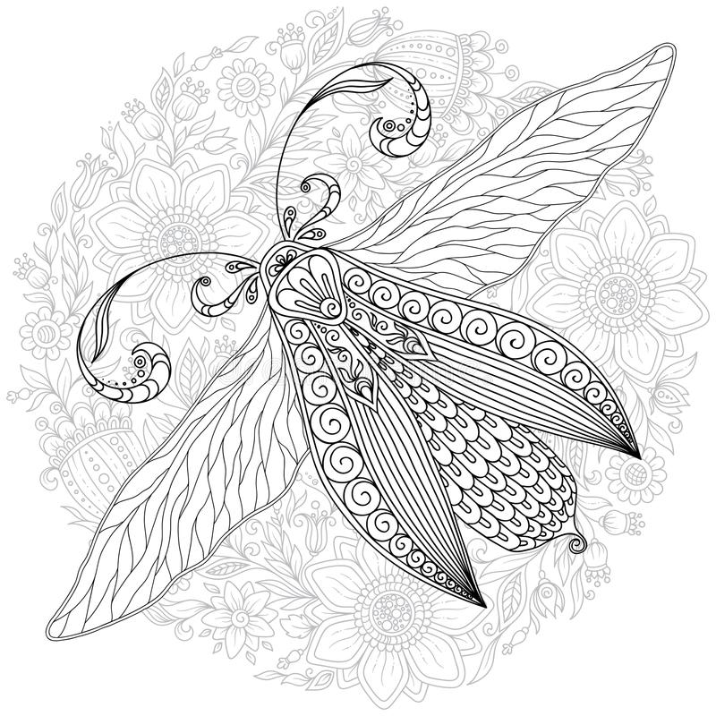 Schizzo ornamentale dettagliato di un lepidottero illustrazione di stock