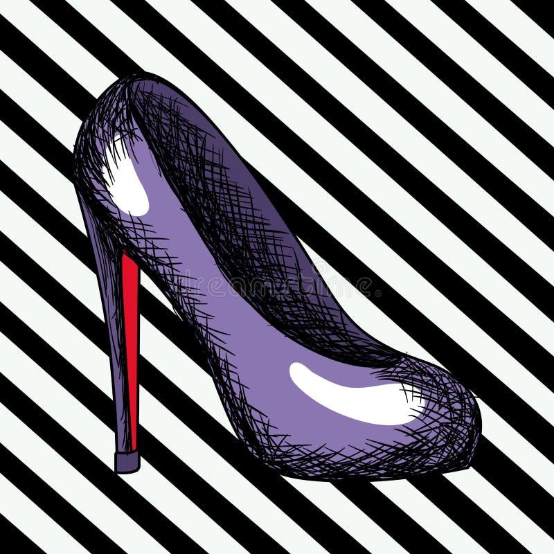 Schizzo porpora della scarpa del tallone in Pop art su fondo a strisce diagonale nero royalty illustrazione gratis
