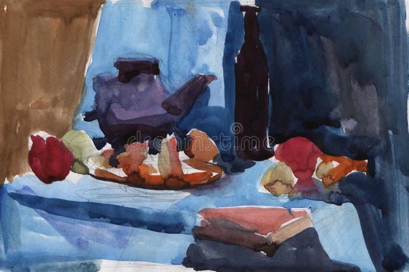 Schizzo rapido dell'acquerello di una natura morta degli utensili e della frutta Cucina illustrazione di stock
