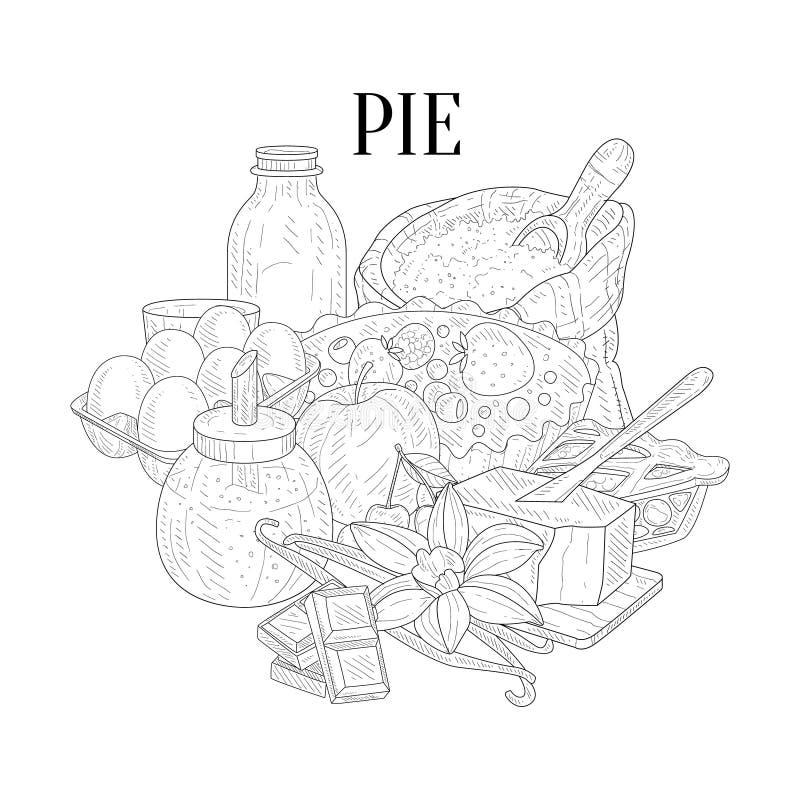 Schizzo realistico disegnato a mano degli ingredienti di cottura della torta royalty illustrazione gratis