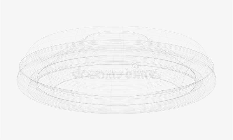 Schizzo rotondo dell'arena coperto estratto illustrazione di stock
