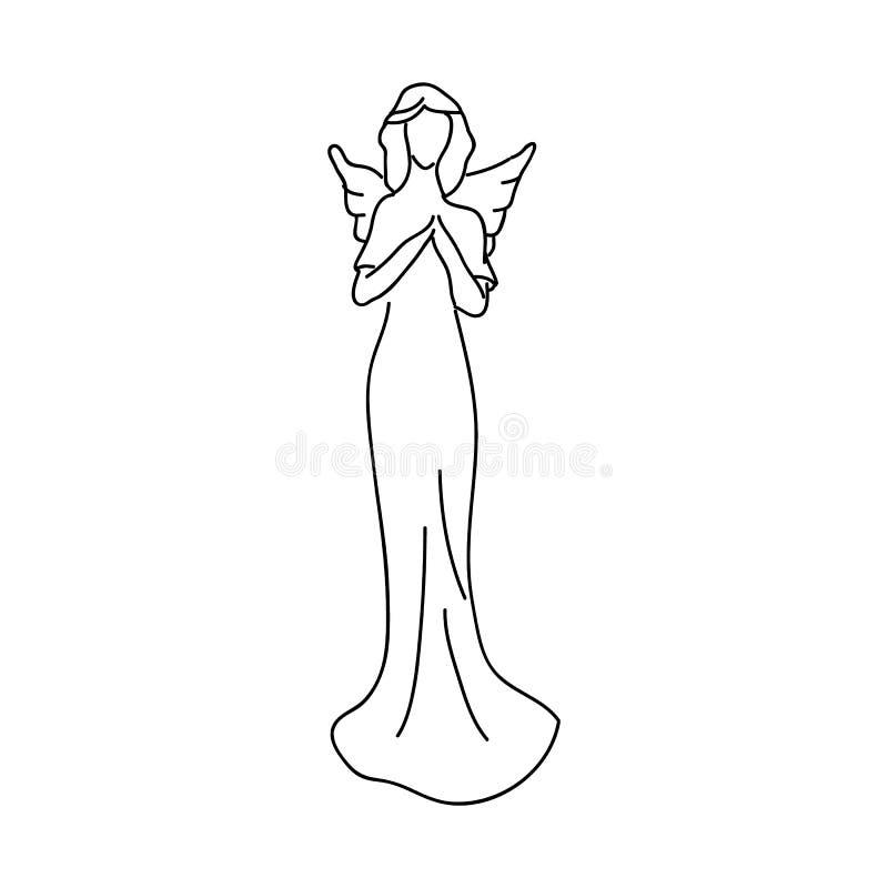 Schizzo semplice di un angelo, una figura femminile con le ali illustrazione di stock