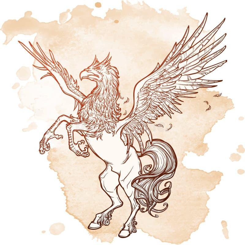 Schizzo soprannaturale della bestia di Hippogryph o di ippogrifo su un fondo di lerciume illustrazione di stock