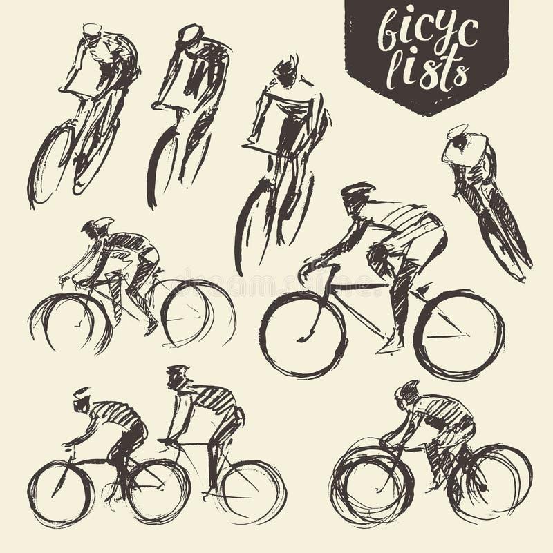 Schizzo stabilito del ciclo della bici del ciclista della montagna di tiraggio della mano illustrazione vettoriale