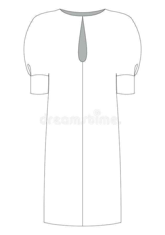 Schizzo tecnico delle donne di modo del vestito nel grafico di vettore illustrazione vettoriale