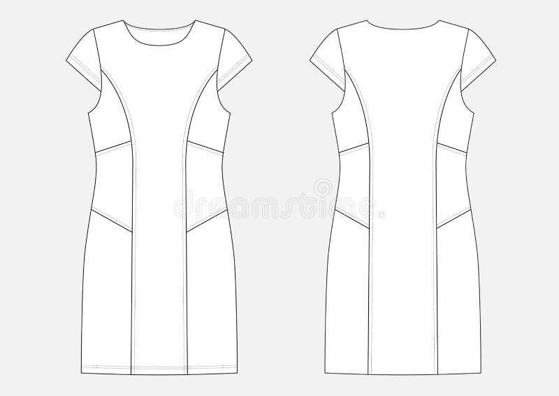 Schizzo tecnico di modo del vestito illustrazione di stock