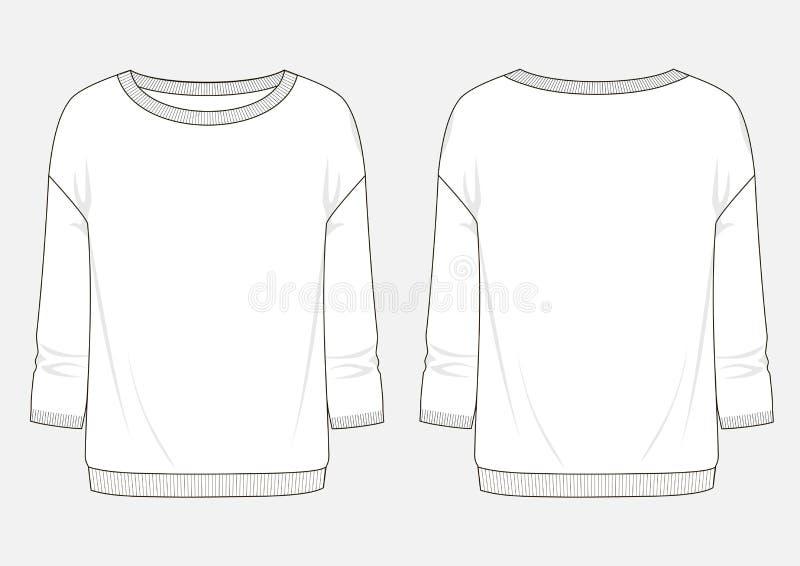 Schizzo tecnico di modo della maglietta felpata della donna royalty illustrazione gratis