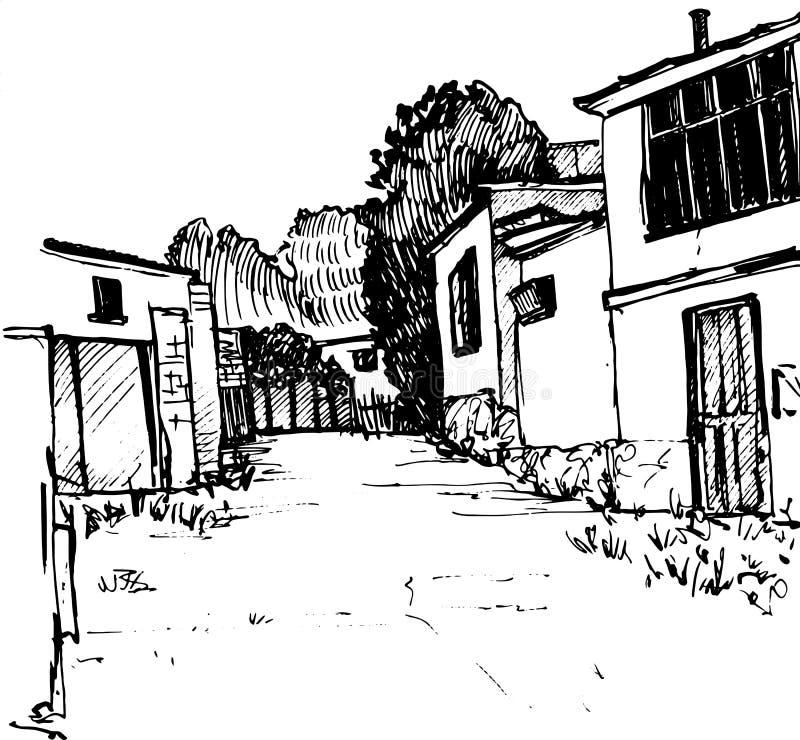 Schizzo urbano, via del villaggio, illustrazione di vettore royalty illustrazione gratis