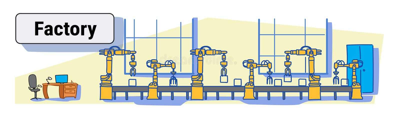 Schizzo variopinto della catena di montaggio del trasportatore di produzione della fabbrica del macchinario di automazione indust illustrazione vettoriale