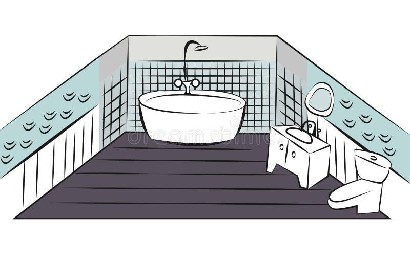 Schizzo variopinto di interior design del bagno for Layout del bagno principale