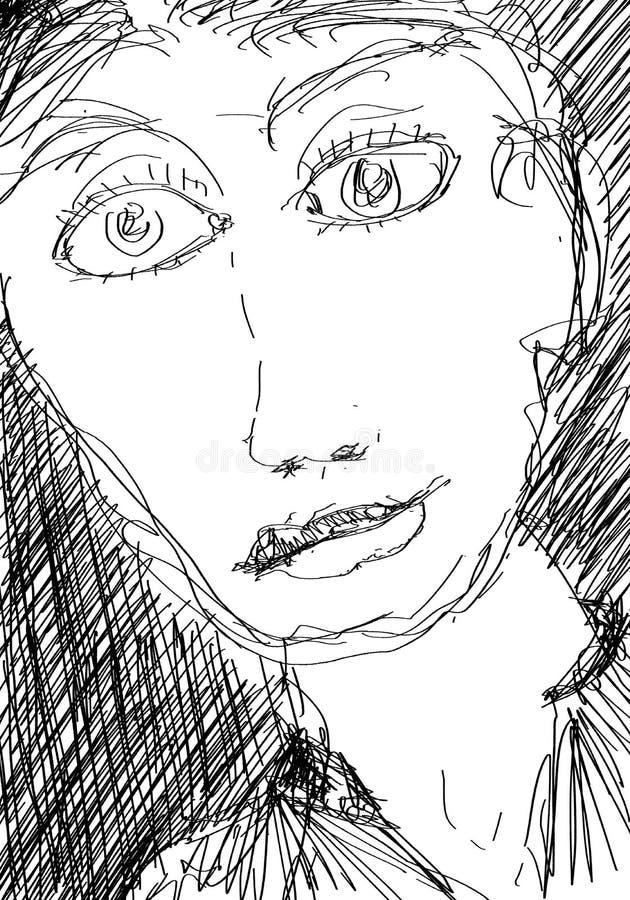 Schizzo vicino del ritratto di una persona dai capelli lunghi femminile esile illustrazione di stock