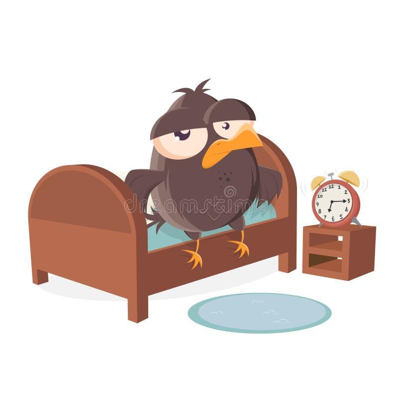 Schläfriger Karikaturvogel ist Verlassen ein Bett vektor abbildung