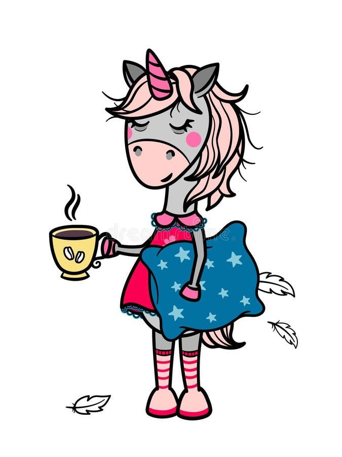 Schläfriges Einhornmädchen mit einer Schale in ihrer Hand lizenzfreie abbildung