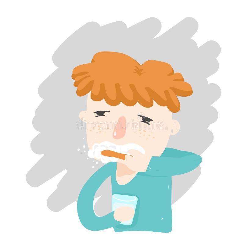 Schläfriges Gesicht der orange Haarjungenbürsten-Zähne stockfotografie