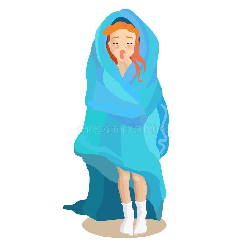 Schläfriges Mädchen des Vektors in der Decke stockbild