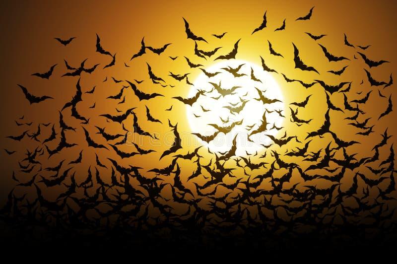 Schläger auf Vollmondhalloween-Hintergrund lizenzfreie abbildung