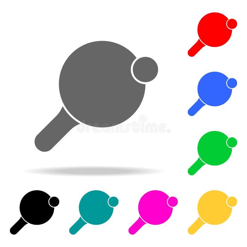 Schläger für Tischtennisikonen Elemente von menschliches Netz farbigen Ikonen Erstklassige Qualitätsgrafikdesignikone Einfache Ik lizenzfreie abbildung