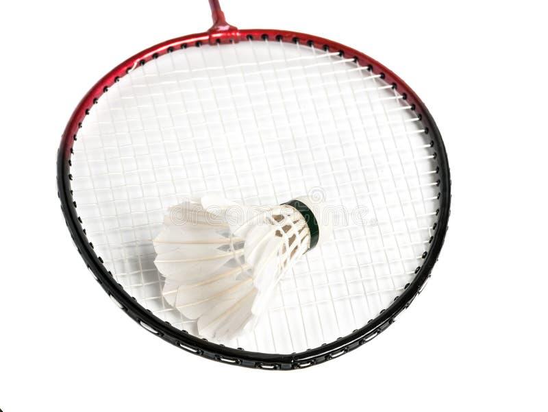 Schläger ist ein Badminton und ein Federball lizenzfreies stockfoto
