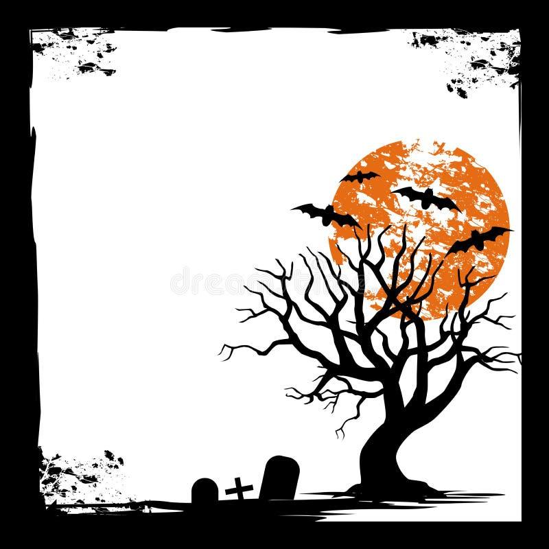 Schläger, Mond und tote Bäume Gespenstische Halloween-Karte flaches Design des Hintergrundes stock abbildung