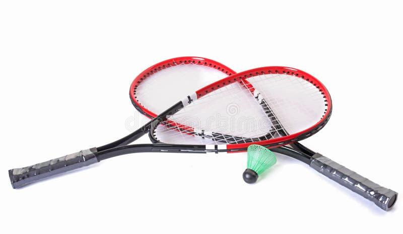 Schläger und Federball von Badminton stockfotografie