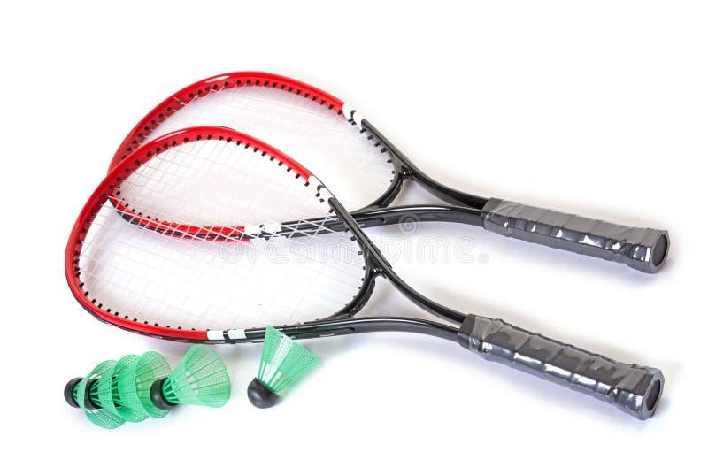 Schläger und Federball von Badminton lizenzfreies stockbild