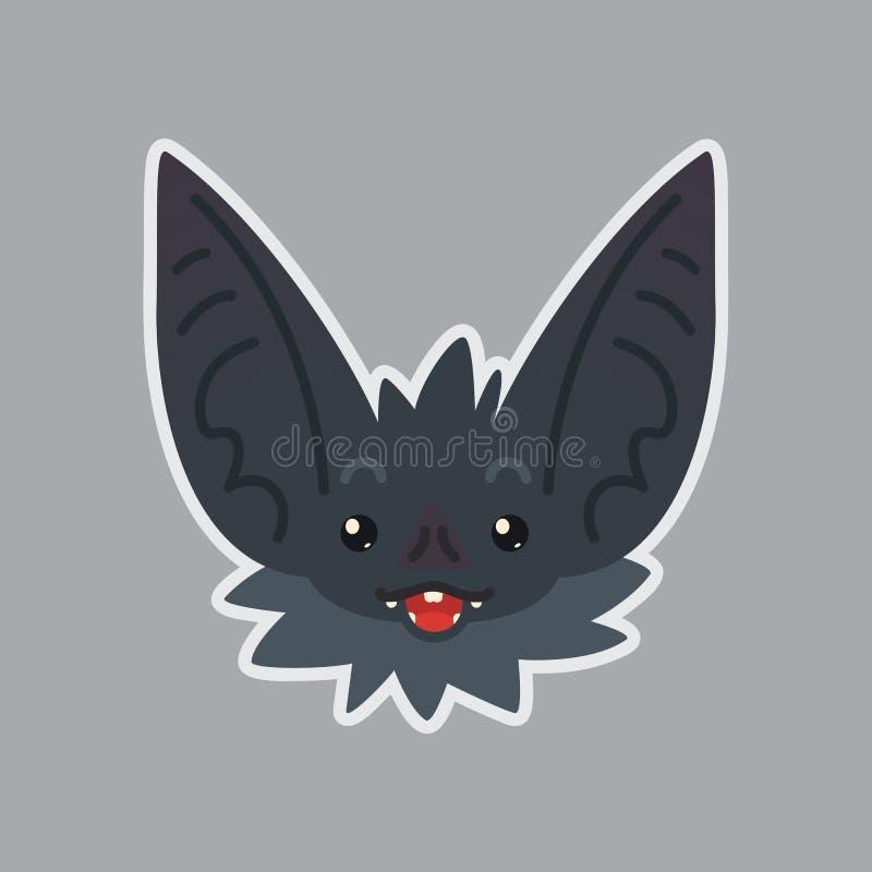 Schlägeraufkleber Emoji Vektorillustration des netten Halloween-Schlägervampirs vektor abbildung