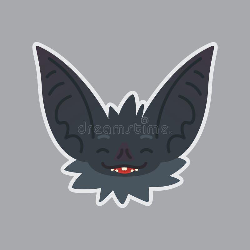 Schlägeraufkleber Emoji Vektorillustration des netten Halloween-Schlägervampirs zeigt glückliches Gefühl lizenzfreie abbildung